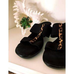 Italian Black Leopard Strap Sandal Wedge Shoes 7